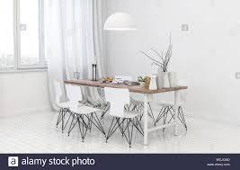 Innenraum Einer Monochromatischen Weiß Im Skandinavischen