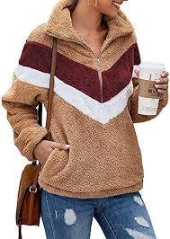 ZESICA Women's <b>Autumn Winter Long Sleeve</b> Zipper Sherpa Fleece