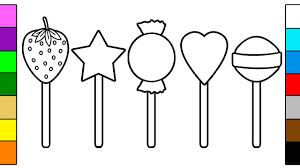 Many Colorful Lollipop Coloring Pages For Baby Youtube