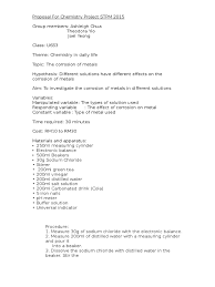 proposal for chemistry project stpm