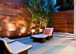 Comfortable Chaise Longue And Sparkling Outdoor Lighting Ideas For Modern Japanese  Patio Design
