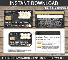 Credit Card Party Invitations Black Credit Card Invitations Mall Scavenger Hunt Invitations