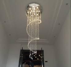 amazing long hanging chandelier modern d80h250cm large foyer spiral long crystal chandelier light