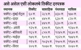 Ac Local Mumbai Schedule Timetable