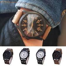 men 039 s fashion sport watches men military leather band quartz image is loading men 039 s fashion sport watches men military