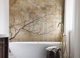 Small Bathroom Made Look Visually Bigger By A Hand Painted Wall Bathroom Wallpaper Murals