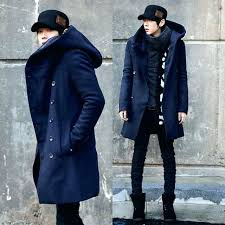 blue trench coat men new arrival winter trench coat men double on trench coat hoo long