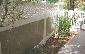 two tone vinyl privacy fence with lattice accent fence i85 privacy