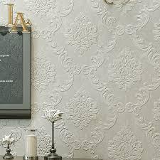 Europäische Einfache Luxus Beige Grau 3d Damast Tapete Wohnzimmer