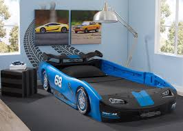 Delta Children Turbo Race Car Twin Bed, Blue, Room View a1a ...