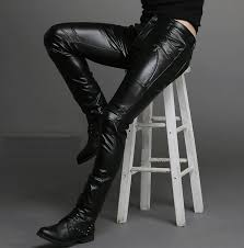 hip for men leather pants pants pants jeans hop straight slim stitching faux skinny for men youth leisure pantalo
