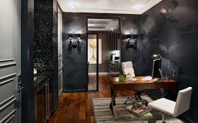 eclectic home office. Eclectic Home Office With Norwall Black SL27548 Large Scale Medallion Wallpaper, Jet Crystal Wall