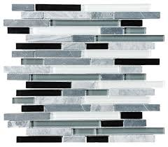 bliss midnight stone and glass linear mosaic tile sample