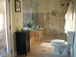 glass shower doors with beige floor tiles for small bathroom remodel ideas with soft green wall color