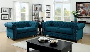 Stanford Dark Teal Fabric Living Room Set from Furniture of