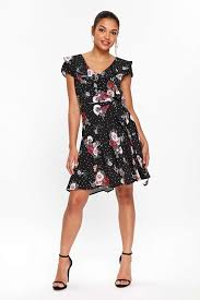 Petite Black Printed Fit And Flare Dress