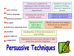 persuasive techniques improving your writing  persuasive techniques persuasive writing