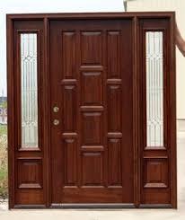 wooden door design. 10 Panel Front Door With Sidelights, Pre-finished. Wooden Design
