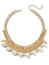 goldtone faux pearl collar necklace new york pany