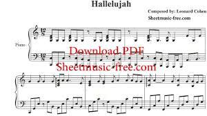 hallelujah piano sheet music hallelujah piano sheet music leonard cohen youtube