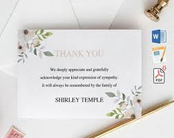Thank You After Funeral Funeral Thank You Cards Printable Funeral Thank You Notes Etsy