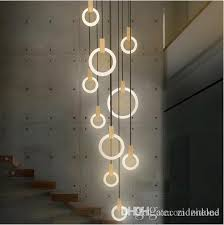 contemporary led chandelier lights nordic led droplighs acrylic rings stair lighting 3 5 6 7 10 rings indoor lighting fixture hanging ceiling light pendant