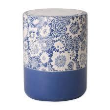 blue garden stool. Emissary Fleur Ceramic Garden Stool In Sapphire Blue