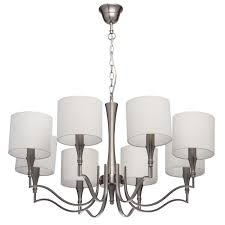 elegant 8 arm pendant chandelier in satin nickel with beige fabric shades
