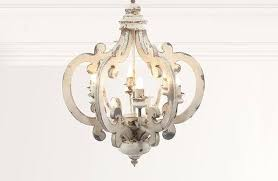distressed white wooden chandelier wood barrel you light up my life home improvement licious on decor steals wo