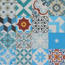 blue cement tile patchwork blue