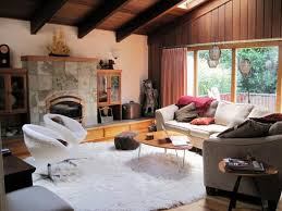 french country living room with round flokati rug