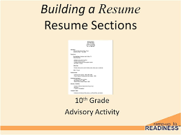 Building A Resume Simple Building A Resume Resume Sections 28th Grade Advisory Activity