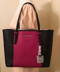 michael kors jet set saffiano leather small travel tote handbag fuschia