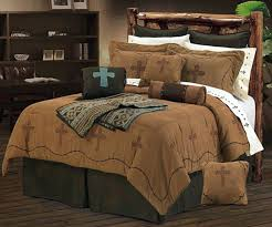 western bed sets barbwire cross embroidery dark tan western bedding set southwest bedding style western king western bed sets