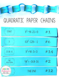 solving quadratic equations paper chain activity teaching mathteaching ideasalgebra