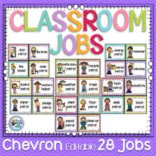 First Grade Classroom Job Chart First Grade Fun Times From Classroom Jobs Chevron On
