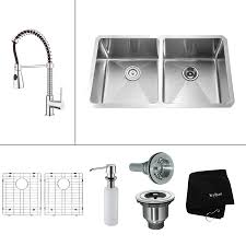 kraus kitchen combo 32 75 in x 19 in steel stainless double basin