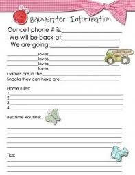 babysitter information sheet printable babysitter information sheet beneficialholdings info