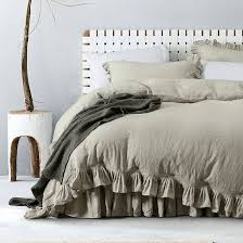 flax classical ruffled 100 french linen duvet cover sets linen bed sets 3pcs lot