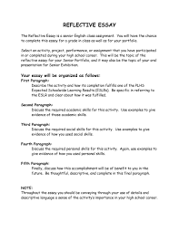 Personal Reflective Essays Examples Essay Format Personal Reflection Le Reflective Les Pdf