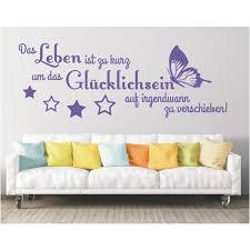 Wandtattoo Spruch Das Leben Ist Zu Kurz Um Glücklichsein Wandsticker