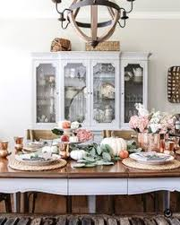 french country dining room with blush and white tablescape