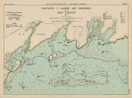 New York Harbor Nautical Chart Captains Island Harbor And Greenwich Ct Port Chester Ny Colored Nautical Chart