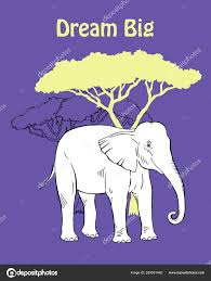 Quotes Poster With Elephant Savanna Animal Hand Drawn Stock Vector