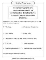 Sentence Fragments Sentence Fragments Worksheets Examples Definition For Kids