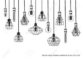 Hand Drawn Vector Set Of Different Geometric Loft Lamps And Iron