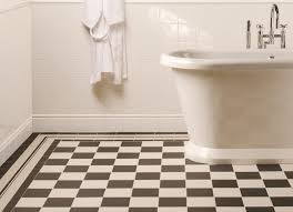 classic tub and white interior color combination using black and white victorian style floor tiles for classic kitchen ideas