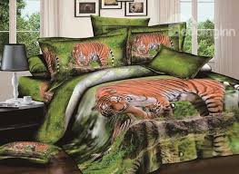 usd 81 79 3d wandering tiger printed cotton 4 piece bedding sets duvet covers