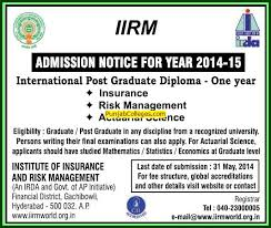 institute of insurance and risk management iirm hyderabad telangana post graduate diploma in risk management