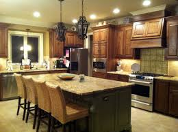 wondrous modern kitchen ideas with pendant light over island also mahogany cabinets set